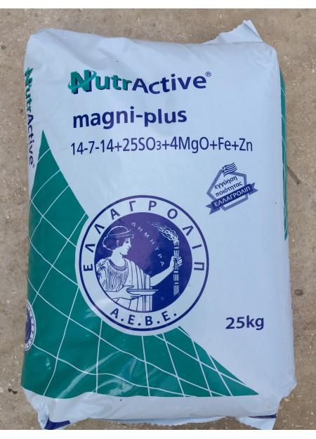 nutractive magni-plus Λίπασμα NPK με παρεμποδιστή νιτροποίησης DCD (SO3 -MgO) με Fe, Zn 14-7-14 (25-4)